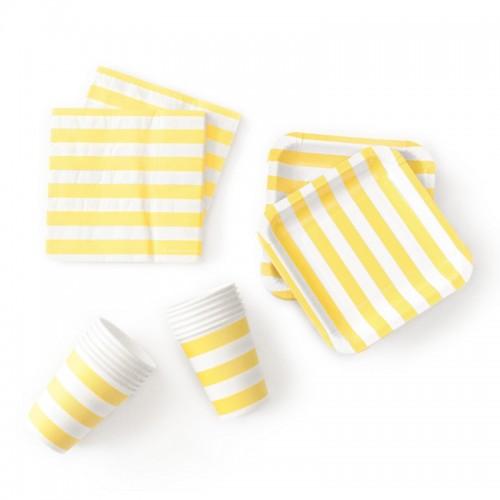 abcJoy κίτρινες ριγέ χαρτοπετσέτες (20-pack)