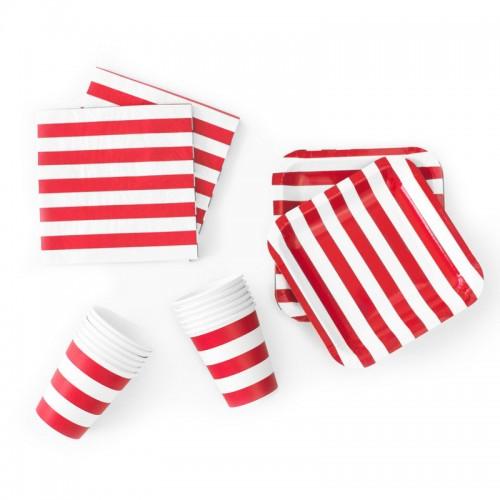 abcJoy κόκκινες ριγέ χαρτοπετσέτες (20-pack)