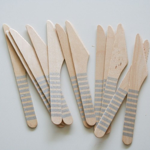 abcJoy ασημί ριγέ ξύλινα μαχαιράκια  (12-pack)