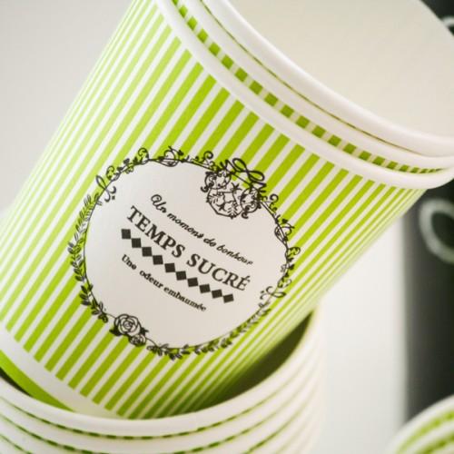 Πράσινα ριγέ vintage χάρτινα ποτήρια 10-pack