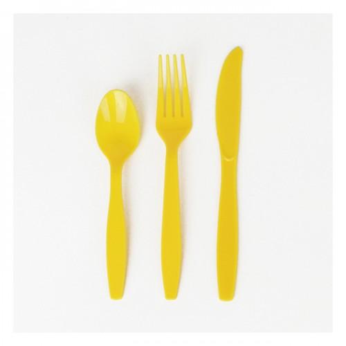 Σετ κίτρινα πλαστικά μαχαιροπίρουνα  (24-pack)