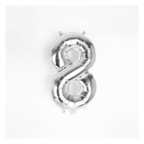 Μπαλόνι Ασημένιο Νούμερο 8 (16'')
