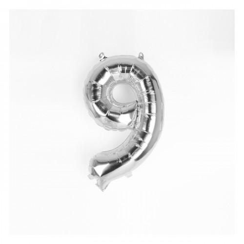 Μπαλόνι Ασημένιο Νούμερο 9 (16'')