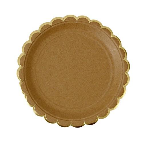 Στρογγυλά Πιάτα Γλυκού Κραφτ Με Χρυσό (8pcs)