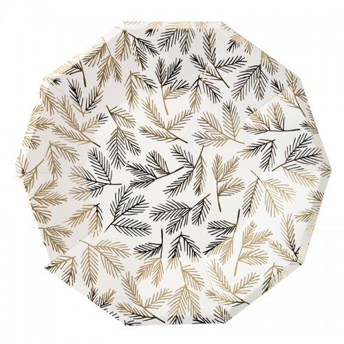 Gold Leaves Plates-Χάρτινα Πιάτα Με Χρυσά Φύλλα(8pcs)-Meri Meri