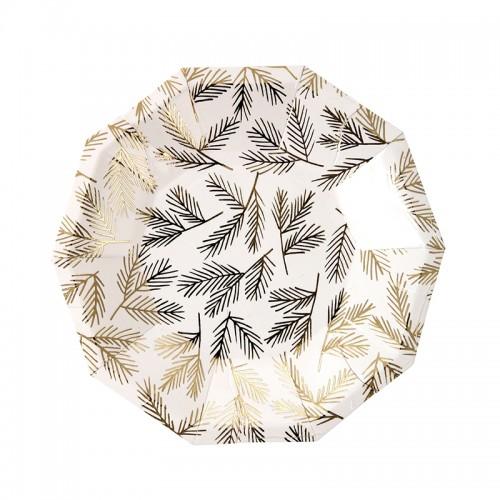 Gold Leaves Plates-Χάρτινα Πιάτα Γλυκού Με Χρυσά Φύλλα(8pcs)-Meri Meri
