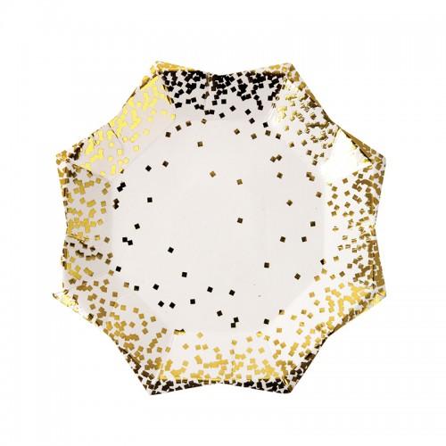 Gold Confetti Star Plates-Χάρτινα Πιάτα Γλυκού Με Χρυσό Κομφετί(8pcs)-Meri Meri