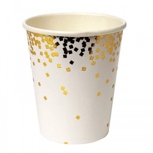 Gold Confetti Cups-Χάρτινα Ποτήρια Με Χρυσό Κομφετί 8pcs Meri Meri