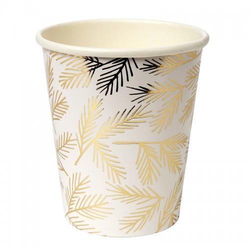 Gold Leaves Cups-Χάρτινα Ποτήρια Με Χρυσά Φύλλα 8pcs Meri Meri