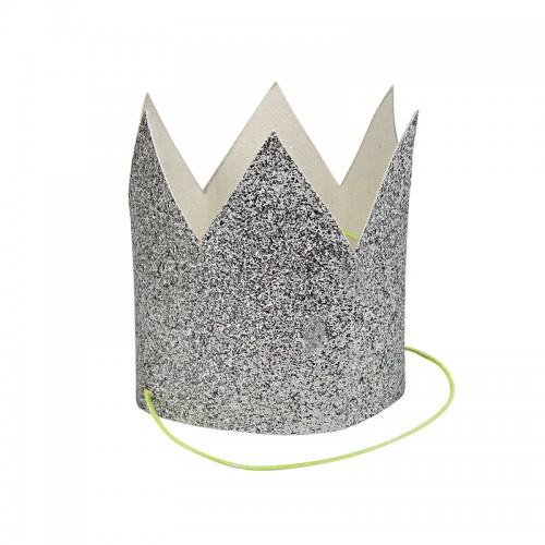 Μικρές Ασημένιες Κορώνες Με Γκλίτερ-Mini Silver Glittered Crowns-Meri Meri