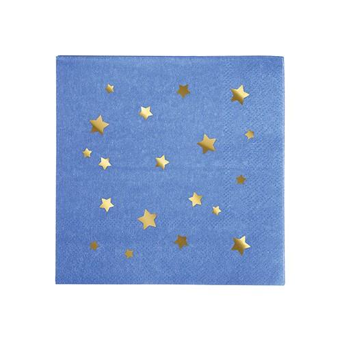 Χαρτοπετσέτες Γλυκού Μπλε Με Χρυσά Αστέρια