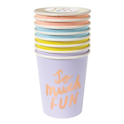 Pastel Rose Gold Typographic Cups-Χάρτινα Ποτήρια Με Μηνύματα (8pcs)-Meri Meri