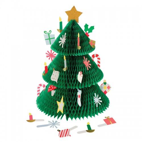 Honeycomb Χριστουγεννιάτικο Δέντρο Ημερολόγιο Με Κάρτες Στολίδια