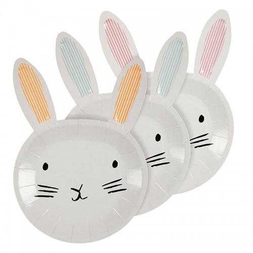 Χάρτινα Πιάτα Πασχαλινό Λαγουδάκι - Bunny Shaped Easter Plates Meri Meri