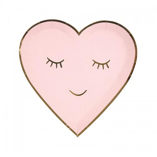 Χάρτινα Πιάτα Καρδιά Σε Ροζ Και Χρυσό - Blushing Heart Plates Meri Meri