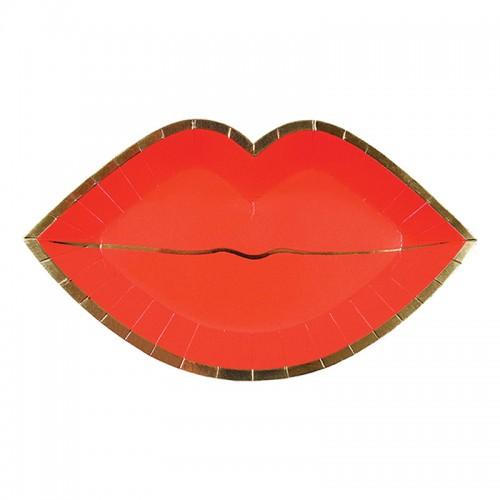 Χάρτινα Πιάτα Κόκκινα Χείλη-Red Lips Plates Meri Meri