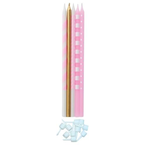 Κεριά Τούρτας Χρυσά Και Ροζ 4 Σχεδίων-10pcs-Givi Italia