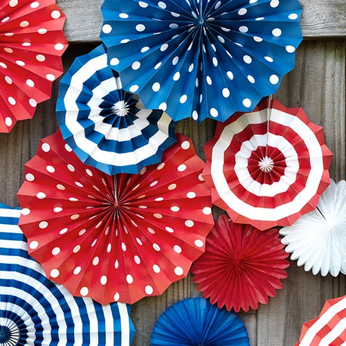 """Navy Breeze""- Paper Fans Set of 6pcs AbcJoy"