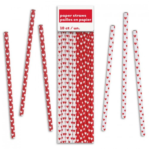 Xάρτινα Kαλαμάκια Κόκκινες-Λευκές Καρδιές (10-pack) Unique