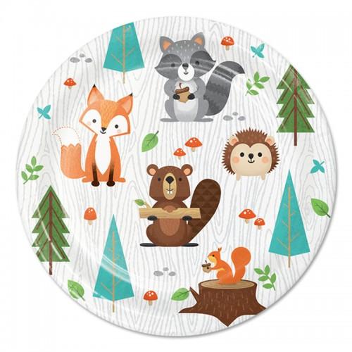 Χάρτινα Πιάτα Γλυκού Ζώα Του Δάσους - Woodland