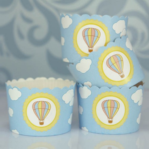 Θήκες Για Cupcakes Αερόστατο Με Λευκό Καραμελόχαρτο