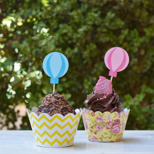 Cupcake Toppers Γαλάζια Αερόστατα - Hand Made by Ministry Of Art (6pcs)