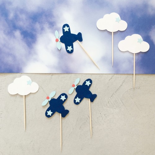 Cupcake Toppers Αεροπλάνα Και Σύννεφα - Hand Made by Ministry Of Art (6pcs)