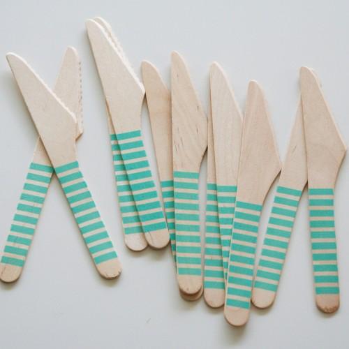 abcJoy aqua ριγέ ξύλινα μαχαιράκια  (12-pack)