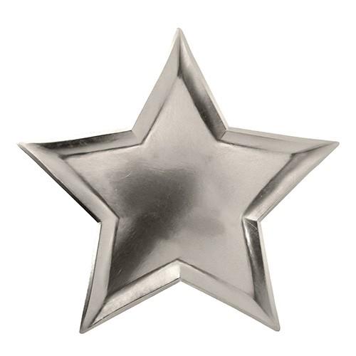 Χάρτινα Πιάτα Ασημί Αστέρια 8pcs