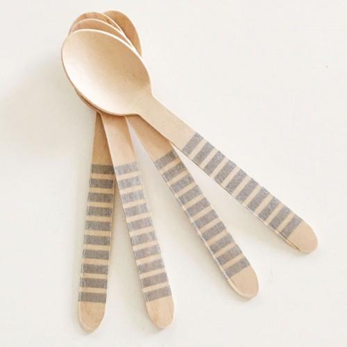 abcJoy ασημί ριγέ ξύλινα κουταλάκια  (12-pack)