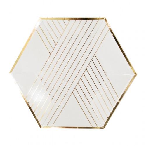 Χάρτινα Πιάτα Γλυκού Σε Λευκό Και Χρυσό - Blanc By Harlow & Grey