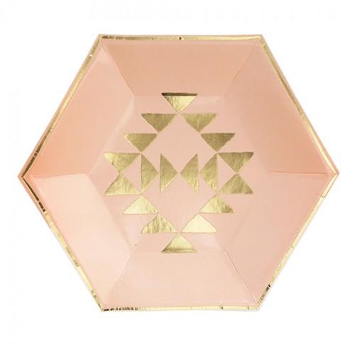 Χάρτινα Πιάτα Γλυκού Σε Ροζ Παστέλ Με Χρυσά Τρίγωνα - Wander By Harlow & Grey