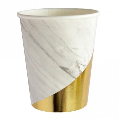 Χάρτινα Ποτήρια Σε Λευκό Μάρμαρο Και Χρυσό - Blanc By Harlow & Grey