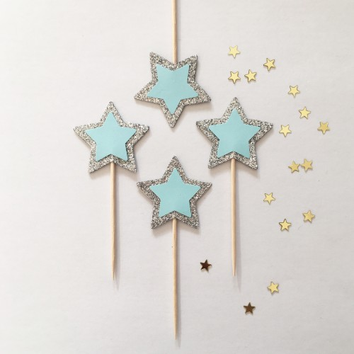 Cupcake Toppers Γκλίτερ Ασημί Και Γαλάζια Αστέρια -Hand Made by Ministry Of Art 6pcs