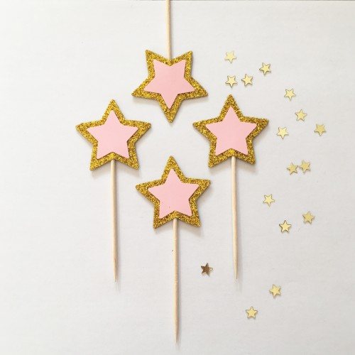 Cupcake Toppers Γκλίτερ Χρυσά Και Ροζ Αστέρια -Hand Made by Ministry Of Art 6pcs