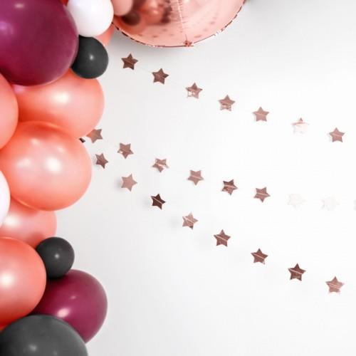 Γιρλάντα Με Ροζ Χρυσά Αστέρια Garland Stars PartyDeco
