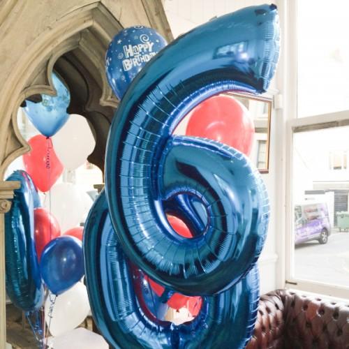 Μπαλόνια Μπλε Foil Αριθμοί 34''-Unique -Επιλέξτε Αριθμό