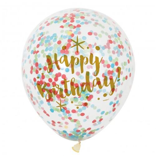 Confetti Balloons-Happy Birthday-6 Μπαλόνια Γενεθλίων Με Πολύχρωμο Κομφετί-Unique