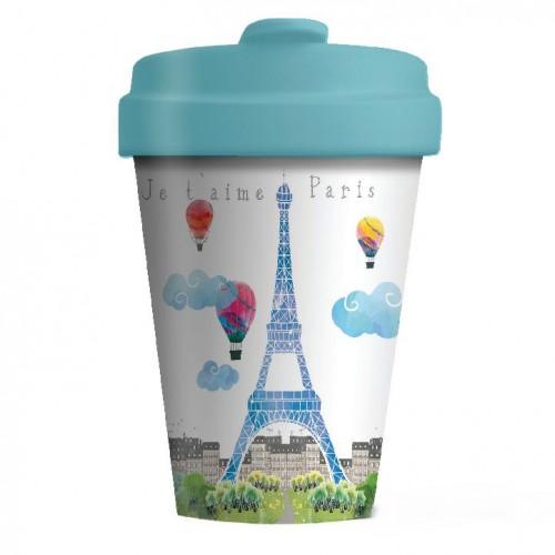 Bamboo Cup Paris Watercolor - Οικολογικά Ποτήρια Για Ζεστά Ροφήματα