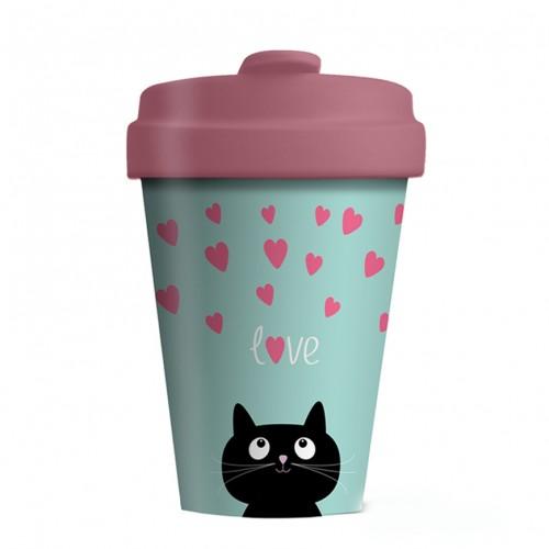Bamboo Cup Kitty Love - Οικολογικά Ποτήρια Για Ζεστά Ροφήματα
