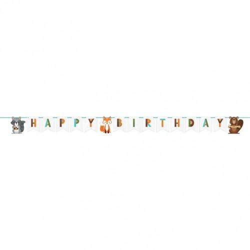 Γιρλάντα Happy Birthday Ζώα Του Δάσους - Woodland