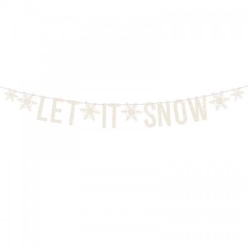 Χριστουγεννιάτικη Γκλίτερ Γιρλάντα Let It Snow PartyDeco