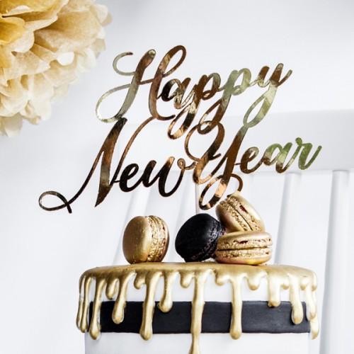 Χρυσό Cake Topper Happy New Year Πρωτοχρονιάτικο Διακοσμητικό Τούρτας - Βασιλόπιτας PartyDeco
