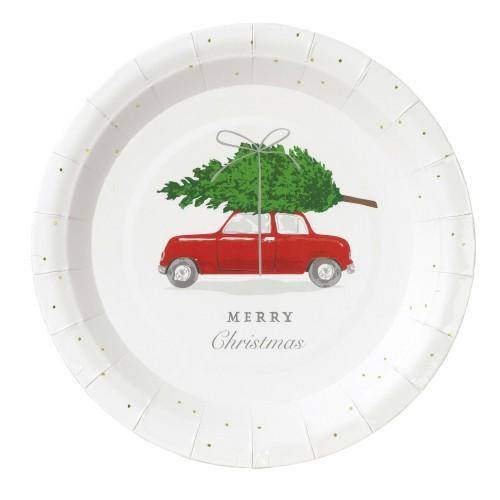 Χάρτινα Πιάτα Αυτοκίνητο με Χριστουγεννιάτικο Έλατο (12-pack) Talking Tables