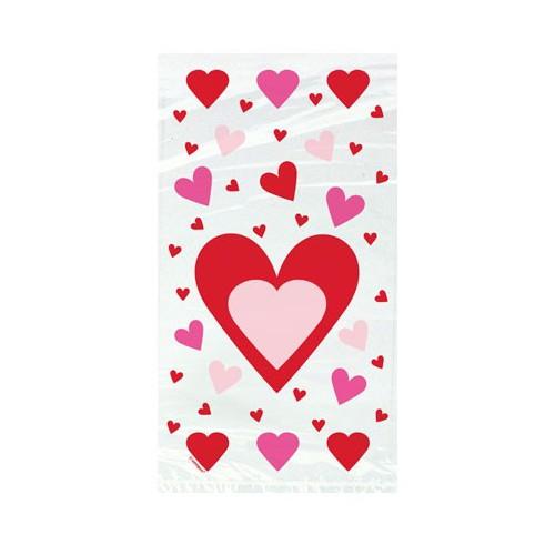 Διάφανα Σακουλάκια Τροφίμων Red & Pink Hearts (20pcs)
