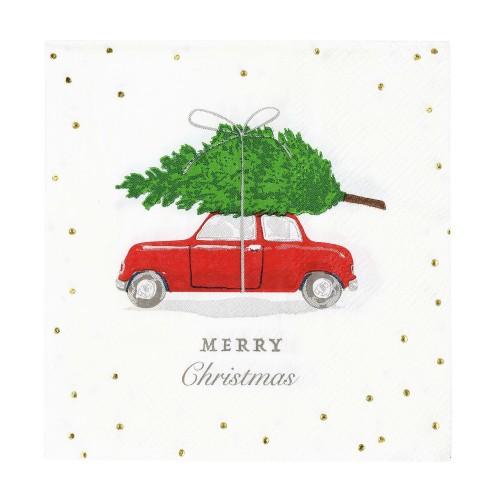 Χαρτοπετσέτες Αυτοκίνητο με Χριστουγεννιάτικο Έλατο (16-pack) Talking Tables