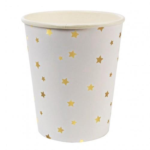 Χάρτινα Ποτήρια Λευκά με Χρυσά Αστέρια 8pcs