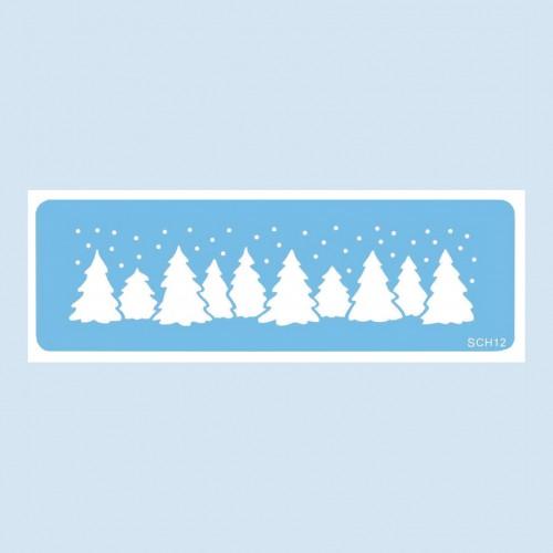 Christmas Trees Stencil-Στένσιλ Χριστουγεννιάτικο Δάσος