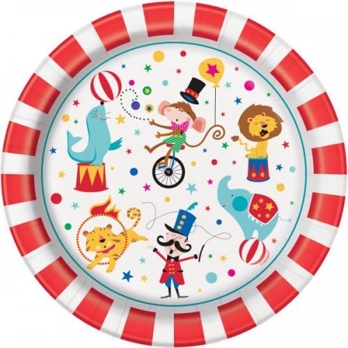 Χάρτινα Πιάτα Φαγητού Τσίρκο (8pcs)