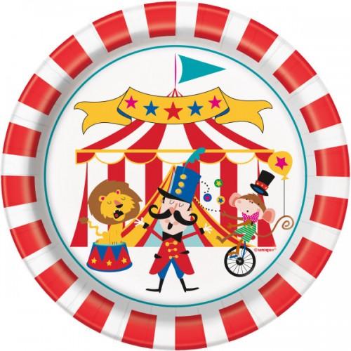 Χάρτινα Πιάτα Γλυκού Τσίρκο (8pcs)